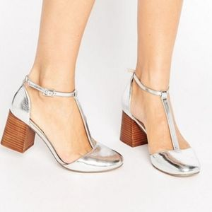 ASOS Metallic faux-leather upperAnkle-strap shoes